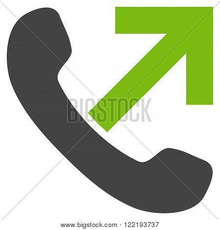 Outgoing Call vector icon. Picture style is bicolor flat outgoing call icon drawn with eco green and gray colors on a white background.