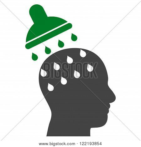 Brain Washing vector icon. Picture style is bicolor flat brain washing icon drawn with green and gray colors on a white background.