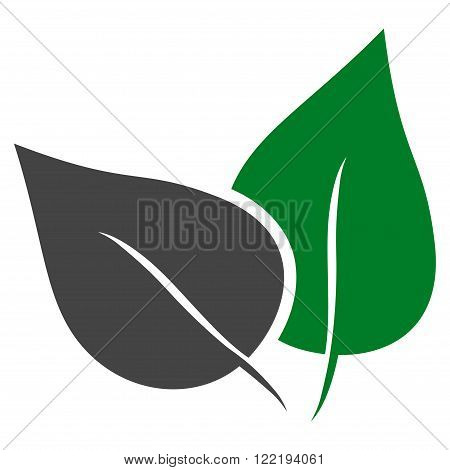 Flora Plant vector icon. Picture style is bicolor flat flora plant icon drawn with green and gray colors on a white background.