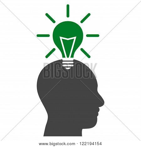 Genius Bulb vector icon. Picture style is bicolor flat genius bulb icon drawn with green and gray colors on a white background.