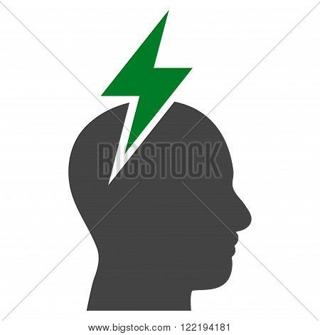 Migraine vector icon. Picture style is bicolor flat headache icon drawn with green and gray colors on a white background.