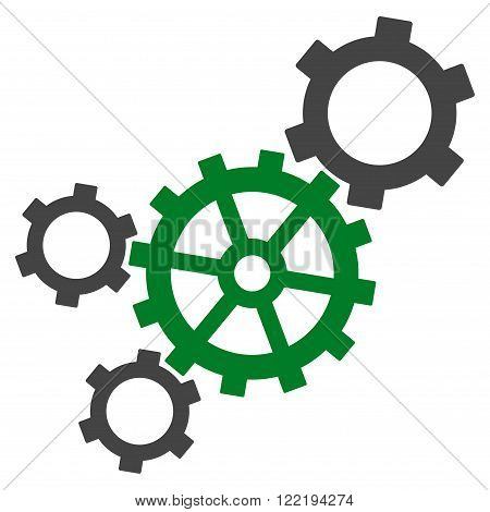 Mechanism vector icon. Picture style is bicolor flat mechanism icon drawn with green and gray colors on a white background.