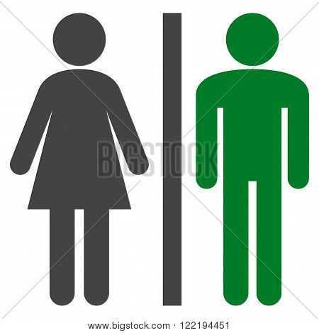 Restroom Persons vector icon. Picture style is bicolor flat WC persons icon drawn with green and gray colors on a white background.