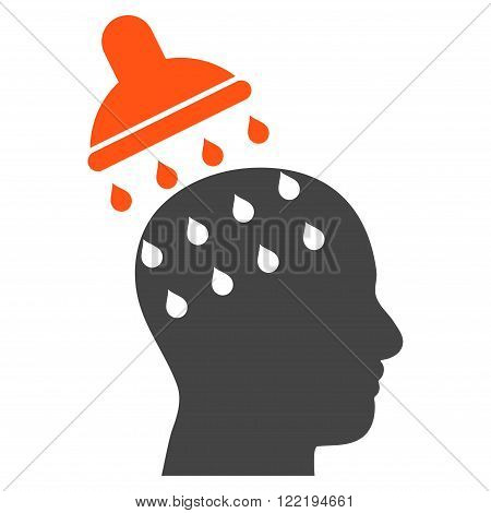 Brain Washing vector icon. Picture style is bicolor flat brain washing icon drawn with orange and gray colors on a white background.