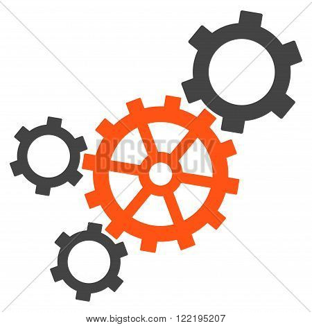 Mechanism vector icon. Picture style is bicolor flat mechanism icon drawn with orange and gray colors on a white background.