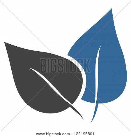 Flora Plant vector icon. Picture style is bicolor flat flora plant icon drawn with cobalt and gray colors on a white background.