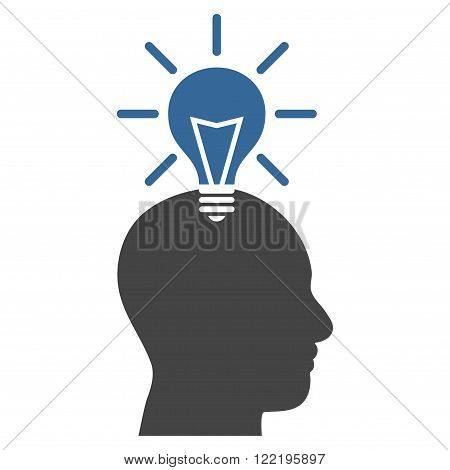 Genius Bulb vector icon. Picture style is bicolor flat genius bulb icon drawn with cobalt and gray colors on a white background.