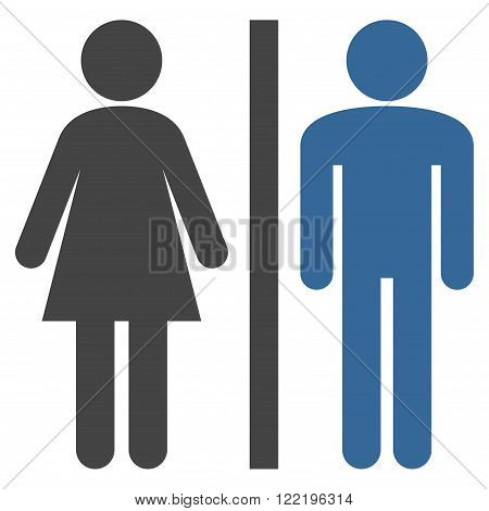 Lavatory Persons vector icon. Picture style is bicolor flat WC persons icon drawn with cobalt and gray colors on a white background.