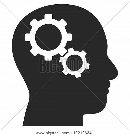 Brain Preferences vector icon. Picture style is flat brain gears icon drawn with gray color on a white background.