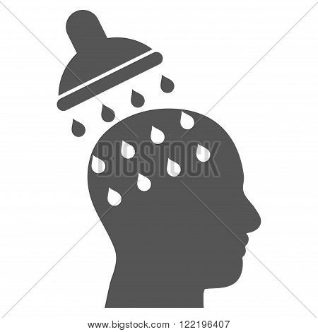 Brain Washing vector icon. Picture style is flat brain washing icon drawn with gray color on a white background.