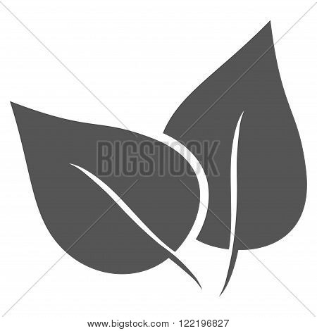 Flora Plant vector icon. Picture style is flat flora plant icon drawn with gray color on a white background.