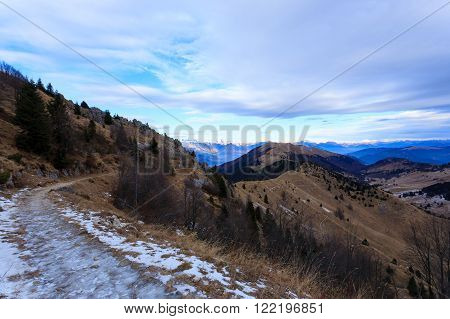 Winter panorama from Monte Grappa, Italy. Mountain view