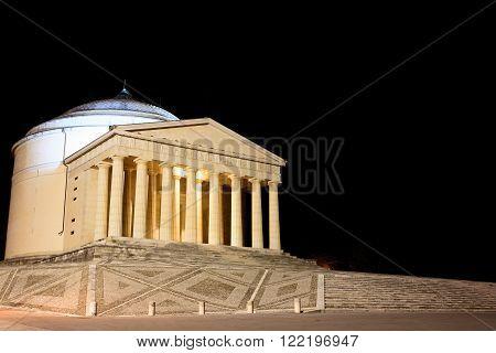 POSSAGNO,ITALY - OCTOBER 05, 2015: Canova's temple night view.