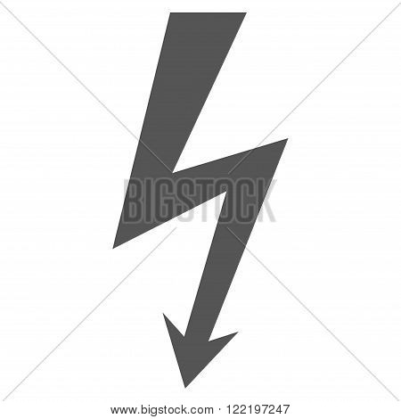 High Voltage vector icon. Picture style is flat high voltage icon drawn with gray color on a white background.