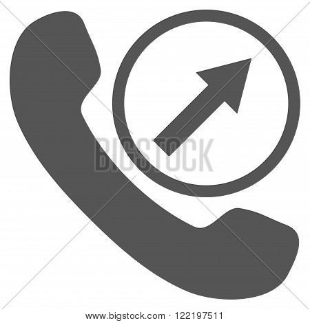 Outgoing Call vector icon. Picture style is flat outgoing call icon drawn with gray color on a white background.