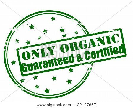 Rubber stamp with text only organic guaranteed and certified inside vector illustration