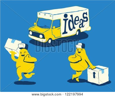 Ideas delivery truck, Shipping ideas concept - style vector illustration isolated on blue background