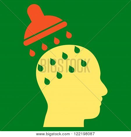 Brain Washing vector icon. Picture style is bicolor flat brain washing icon drawn with orange and yellow colors on a green background.