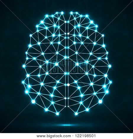 Abstract polygonal brain with glowing dots and lines network connections. Vector illustration. Eps 10