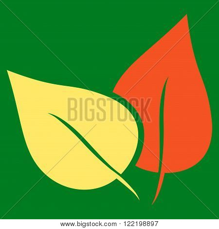Flora Plant vector icon. Picture style is bicolor flat flora plant icon drawn with orange and yellow colors on a green background.