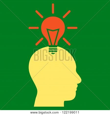 Genius Bulb vector icon. Picture style is bicolor flat genius bulb icon drawn with orange and yellow colors on a green background.