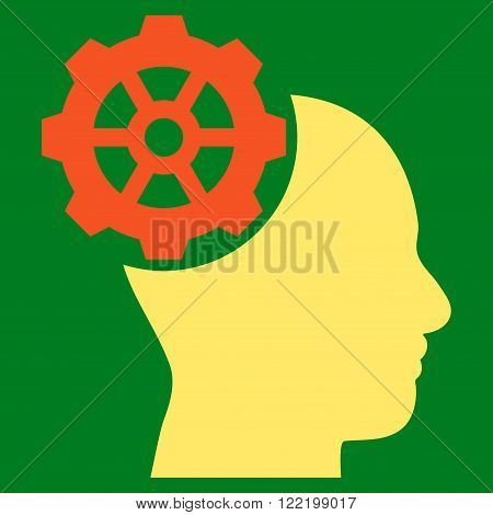 Head Gear vector icon. Picture style is bicolor flat head gear icon drawn with orange and yellow colors on a green background.