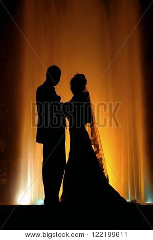 Creating a new family. A wedding is a family event. The bride and groom in the evening fountain.