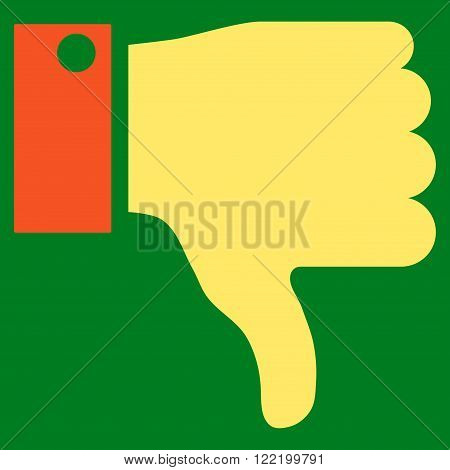 Thumb Down vector icon. Picture style is bicolor flat thumb down icon drawn with orange and yellow colors on a green background.