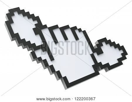 3D Pixel cursor with phone receiver isolated on white background - 3D illustration