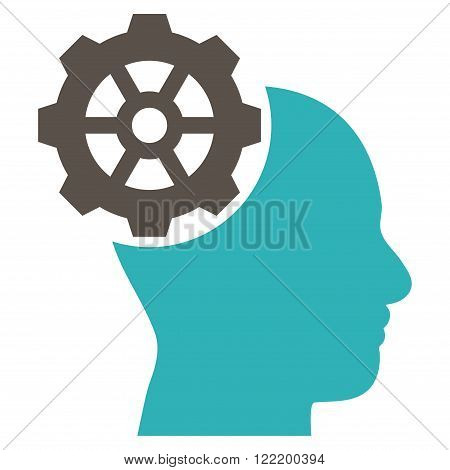 Head Gear vector icon. Picture style is bicolor flat head gear icon drawn with grey and cyan colors on a white background.