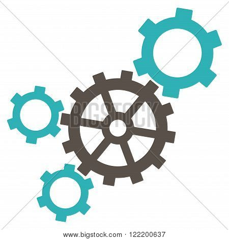 Mechanism vector icon. Picture style is bicolor flat mechanism icon drawn with grey and cyan colors on a white background.