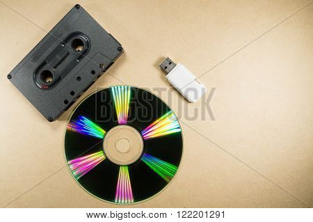Concept of music evolution. Musicassette, cd and usb support. Vintage and modern. Supports for music