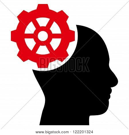 Head Gear vector icon. Picture style is bicolor flat head gear icon drawn with intensive red and black colors on a white background.