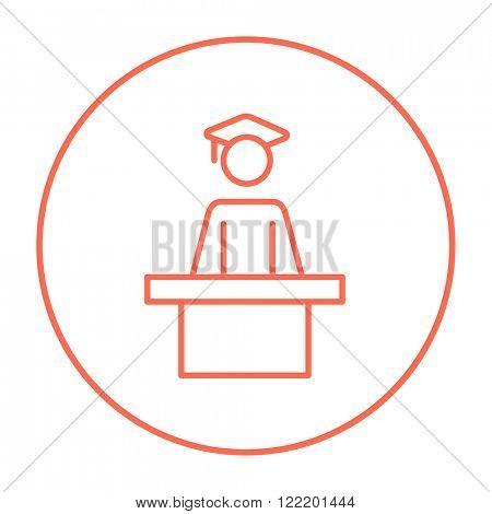 Graduate standing near tribune line icon.