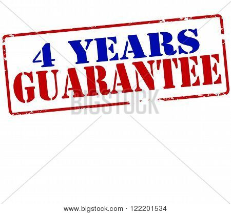 Rubber stamp with text four years guarantee inside vector illustration