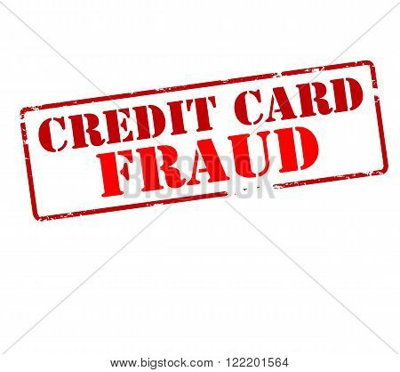 Rubber stamp with text credit card fraud inside vector illustration