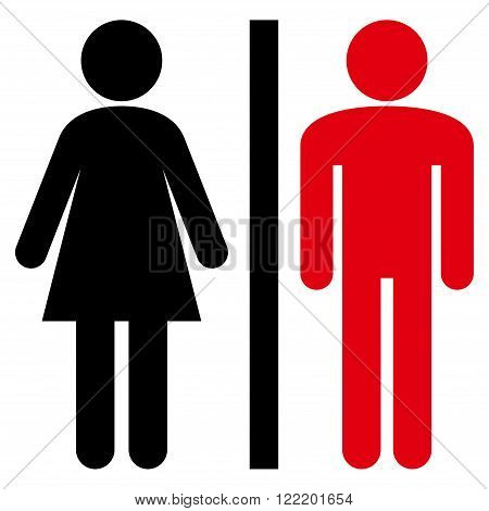 Restroom Persons vector icon. Picture style is bicolor flat WC persons icon drawn with intensive red and black colors on a white background.