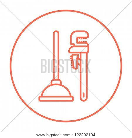 Pipe wrenches and plunger line icon.