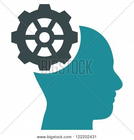 Head Gear vector icon. Picture style is bicolor flat head gear icon drawn with soft blue colors on a white background.