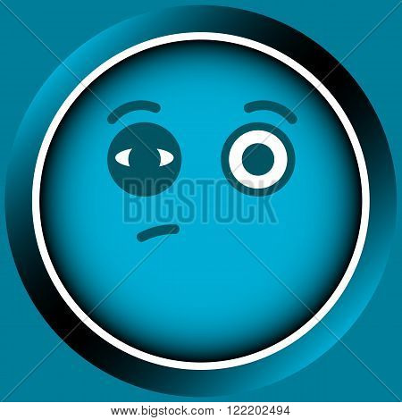 Icon the button of blue color with an amusing smile with bruise