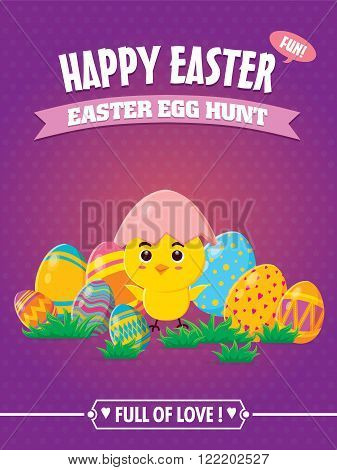 Vintage Easter Egg poster design with little chick