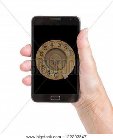 Senior woman hand with smart phone isolated old fashion dial isolated