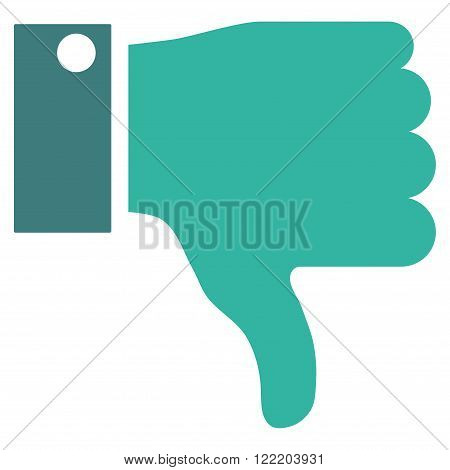 Thumb Down vector icon. Picture style is bicolor flat thumb down icon drawn with cobalt and cyan colors on a white background.