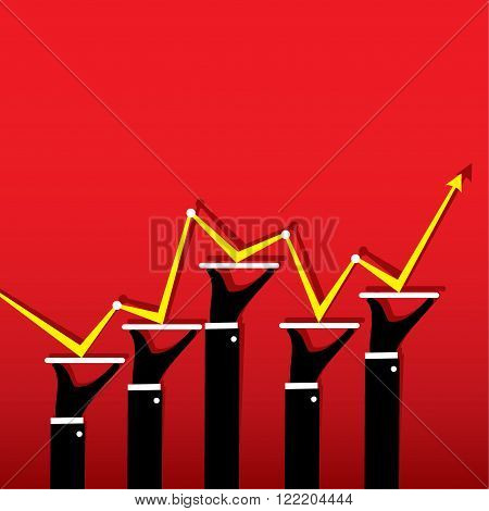 business random growth graph up and down design vector