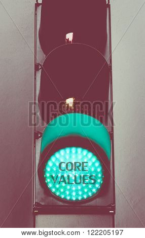 Green Traffic Light With Message Core Values