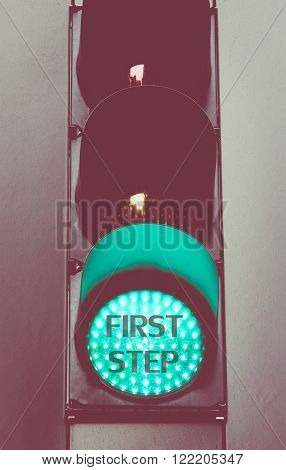 Close Up On Green Traffic Light Message First Step