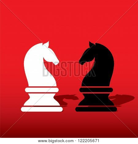 chess white knight  and black knight design vector