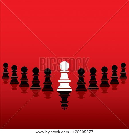 white pawn become leader show to black pawn pieces concept design vector