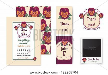Vector set of invitation cards with floral badge and elegant background. Vintage cards or wedding invitations. Wedding collection with invitations, thank you card, table number card and photo frame