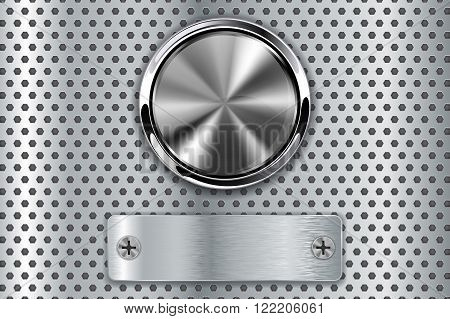 Metal button with steel plate. Vector illustration